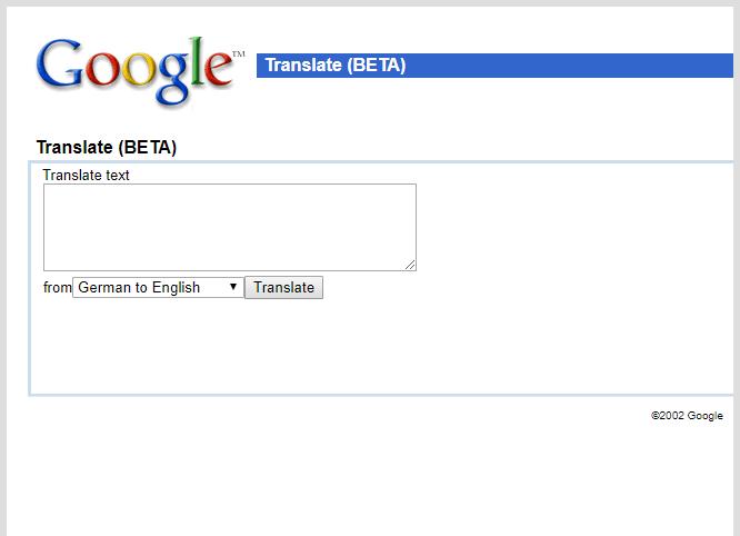 Vzhled - Google překladač - rok 2002