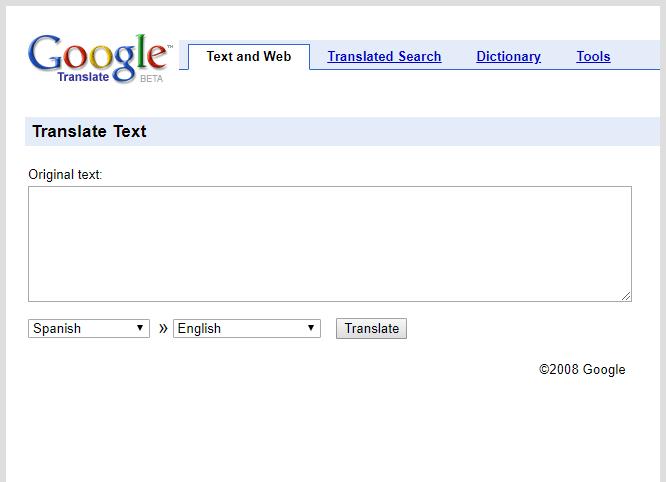 Vzhled - Google překladač - rok 2008
