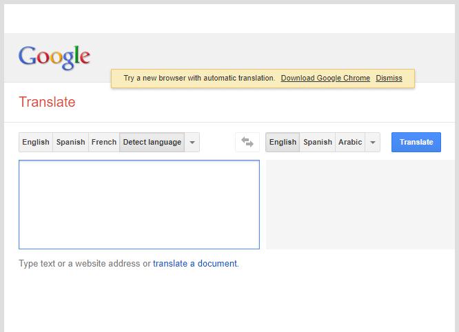 Vzhled - Google překladač - rok 2013