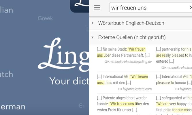 linguee - náhled na mobilu